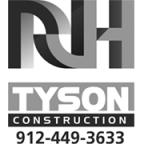 RH Tyson Constructions logo with phone number: 912-449-3633.